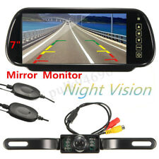 "7""LCD Mirror Monitor+Night Vision Reversing Camera Wireless IR Car Rear View Kit"