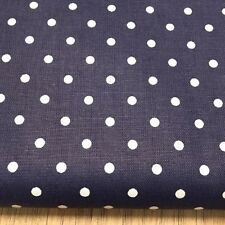 Shabby Chic White Spots on Blue 100% Cotton Fabric. Price per 1/2 meter