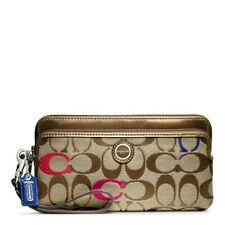 NWT COACH  POPPY EMBROIDERED SIGNATURE DOUBLE ZIP  WALLET 48419