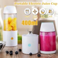 Portable 400ML Blue Juice Maker Bottle Cup Electrical USB Rechargeable Blender