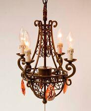 Pacific Coast Lighting Wrought Iron Basket Chandelier 4 Amber Swarovski Prisms