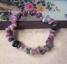 Tourmaline chips bracelet crushed stones beaded stretch bangle hand chain new