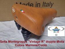 Sella Montegrappa in Pelle Marrone doppia Molla per bici 20-24-26 tipo Graziella