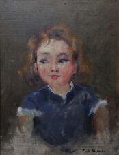 Paule BISMAN (1897-1973) Portrait de petite fille enfant Namur Expressionnisme