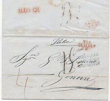 * 1852 RARE BLUE GIBRALTAR DATED SHIP LETTER TO GENOVA ITALY - ITALIAN STATES