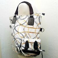 Nicole Lee chain inspired print HUGE - XL Studded White Tote Travel Bag