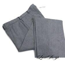 Polo Ralph Lauren Cotton Wool Grey Glen Plaid Flannel Flat Front Pants 36 x 30