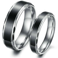 Black Stainless Steel Wedding Ring Men Women Love Promise Band 6MM 4MM Size 5-10