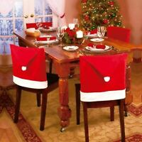 4 x Christmas Red Hat Dining Chair Back Covers Party Xmas Table Decoration UK