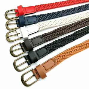 Men Ladies Pin Buckle Waistband Leather Canvas Woven Elastic Thin Stretch Belt