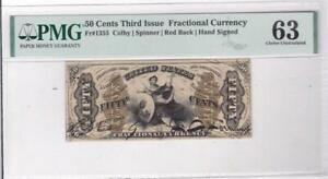 50 Cents Third Issue Fractional Note Fr 1355 Colby Spinner Red Hand Sign PMG 63