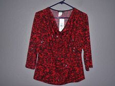 MSK Red & Black Top shimmer Clear Sequin dots, specks Draping Neck.Petite PM NWT