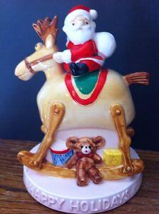 Enesco Ceramic Revolving Rocking Reindeer Up Down Santa Music Box Rudolph Song