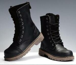 Mens Genuine Leather Military Ankle Combat Boots Punk Army Lace Up Shoes