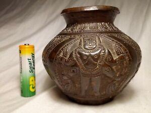 Antique Indian Bronze Censer Showing Hindu Trinity Gods Vishnu, Shiva & Brahma