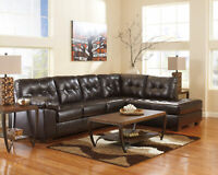 NEW Modern Living Room Brown Bonded Leather Sofa Couch Chaise Sectional Set IG08