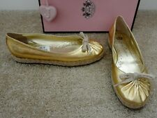 JUICY COUTURE Gold Leather 'Livia' Braided Bottom Bowed Espadrille 8M NEW! $225!