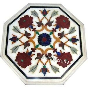 13 Inches Marble Coffee Table Top Inlay Carnelian Gemstones End Table for Home
