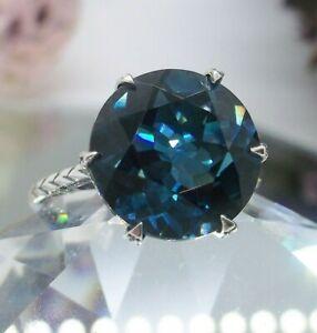 6ct London Blue Topaz Edwardian 1910 Sterling Silver Ring (Custom-Made) #37