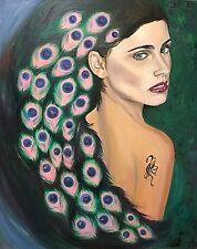 Original Oil Painting Canvas Board Peacock Woman Wall Art Portrait Surrealism US