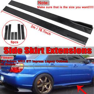 78.7'' Black Side Skirt Extension Splitter Lip For Subaru WRX Impreza BRZ Legacy