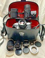 Honeywell PENTAX Spotmatic Camera + 4 Lens&cases w/Soligor Case & key Bundle