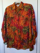 Clementine. Multi-colored Jungle print long sleeve shirt size M
