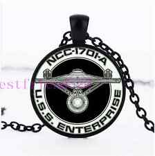 Star Trek USS Enterprise Cabochon Glass Black Chain Pendant  Necklace