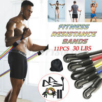 11pcs Resistance Bands Workout Pull Rope Exercise Yoga Gym Fitness Training Tube