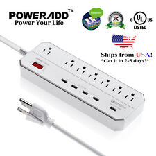 Poweradd 7 Outlet Power Strip Surge Protector with 5 USB 3.0 Quick Charging Port