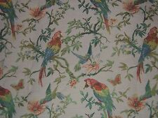 """Lee Jofa """"Hummingbirds and Parrots"""" embroidered brocade by the yard clr cream"""