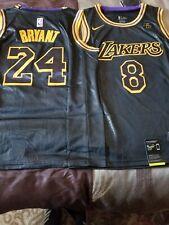 New  Lakers Kobe Bryant Mamba Jersey (Front #8 / Back #24) Black Snakeskin print