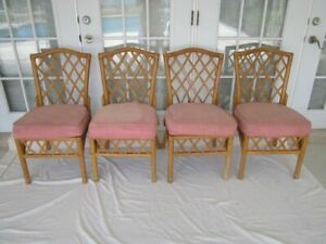 Bamboo Rattan Dining Chair Needs New Upholstery Set of 4
