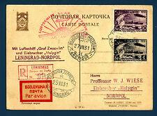 Zeppelin - Cartolina raccomandata da Leningrado (25.07.1931) per Nordpol - (MR)