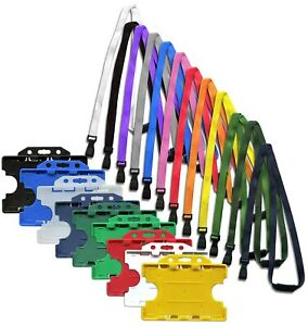 Double Sided ID Card Badge Holder & ID Soft Neck Lanyard Strap  J-Clip Free P&P