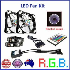 RGB PC LED Fan Kit 120mm Fans Led Strips Remote Control Sata Power