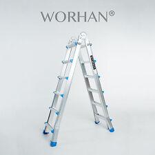 WORHAN® Escalera 587cm Telescopica de 5.87m Multiuso Alu Plegable Tijera L6