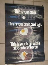THIS IS YOUR BRAIN ON DRUGS-WITH A SIDE OF BACON POSTER FUNNY 1989 COMMERCIAL