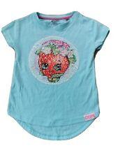 Next Girls Shopkins Light Sky Blue Short Sleeve Top Tshirt Age 6 Years