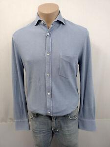 BRUNELLO CUCINELLI Designer Slim Fit Hemd Gr.48 M Polokragen Baumwolle Hellblau