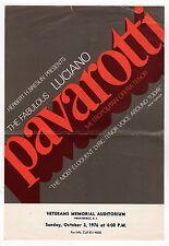 1976 LUCIANO PAVAROTTI Handbill POSTER Providence Rhode Island OPERA Tenor MET