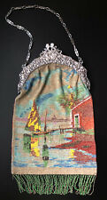 Antique Micro Bead Purse Boat & House at Sunset w/ Silver Frame w/ Cherubs