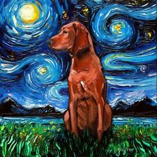 Redbone Coonhound Wall Art Print Dog Starry Night van Gogh Decor by Aja
