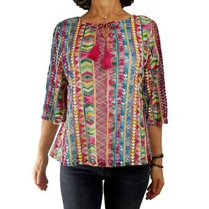 ALI MILES PL Rainbow Embroidered All Over Top ¾ Slv Tassel Tie Boat Neck Spring