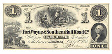 1854 The Fort Wayne & Southern Railroad Co. Muncie, IN $1 Obsolete Note WVS555-1