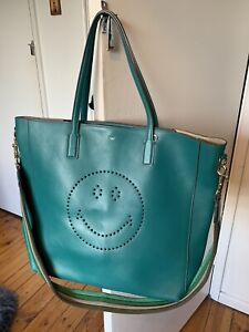 Anya Hindmarch Ebury Smiley Tote. Green Leather. With Dust bag.