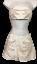 Mara Hoffman Outfit Bra  Top And Shorts White Embroidered Cotton Size 2