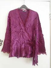 Gina Bacconi Purple Satin Feel Crinkle Wrap Top in Size M / Size 12 - 14 - 16