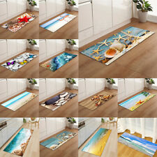 Flannel Ocean Starfish Seashell Anti-Slip Kitchen Rug Area Floor Mat Bath Carpet