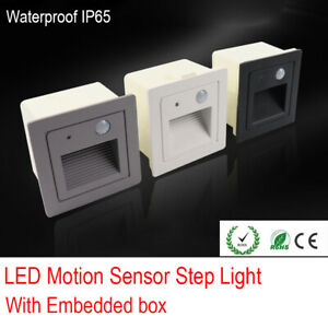 Outdoor Motion-Sensor Step Stair Light Footlight Corner Lamp with Embedded Box